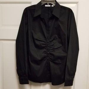 New York & Co. Black rusched longsleeve shirt